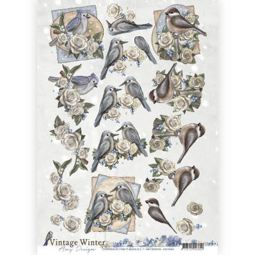 3D knipvel - Amy Design - Vintage winter - Winterbirds