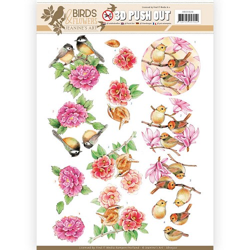 3D Pushout - Jeanine's Art - Birds and Flowers - Pink birds