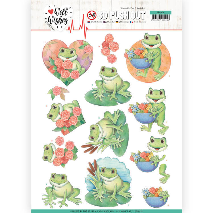 3D Pushout - Jeanine's Art - Well Wishes - Frogs