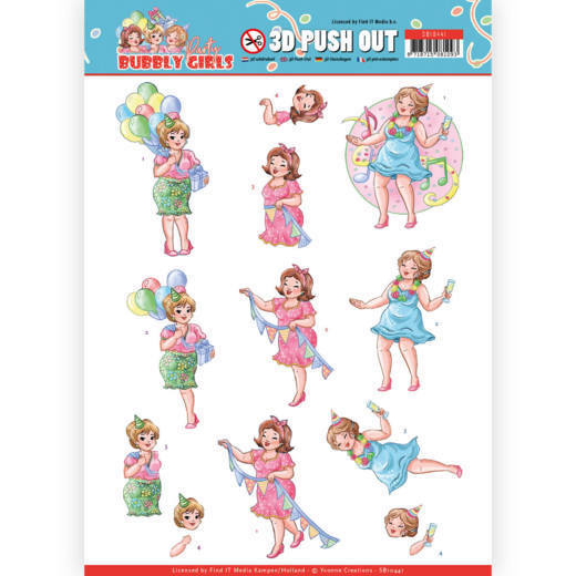3D Pushout - Yvonne Creations - Bubbly Girls - Party - Party Time