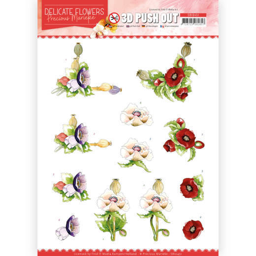 3D Push Out - Precious Marieke - Delicate Flowers - Poppy