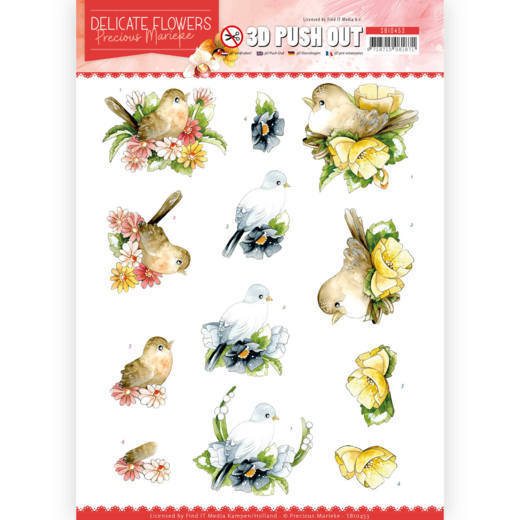 3D Push Out - Precious Marieke - Delicate Flowers -Birds
