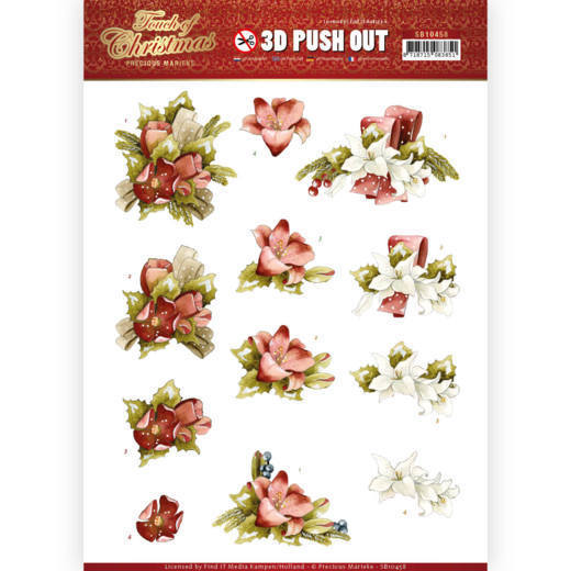 3D Push Out - Precious Marieke - Touch of Christmas - Red Flowers