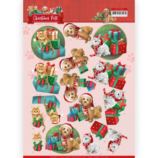 3D Cutting Sheet - Amy Design - Christmas Pets -