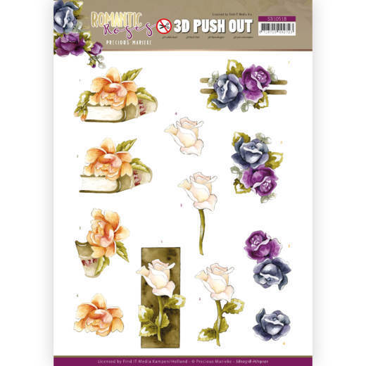 3D Push Out - Precious Marieke - Romantic Roses -Multicolor Rose
