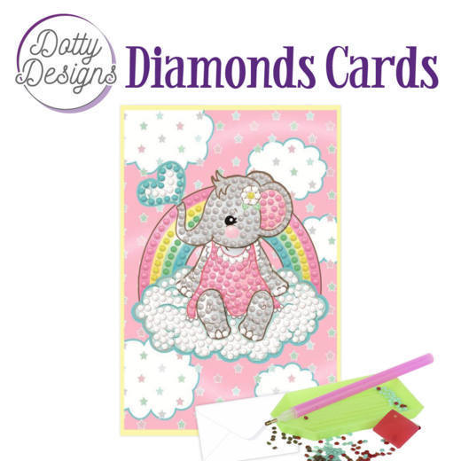 Dotty Designs Diamonds Cards - Pink Baby Elephant