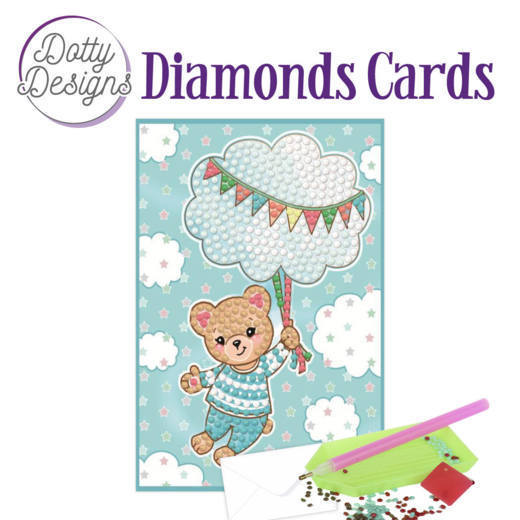 Dotty Designs Diamonds Cards - Blue Baby Bear