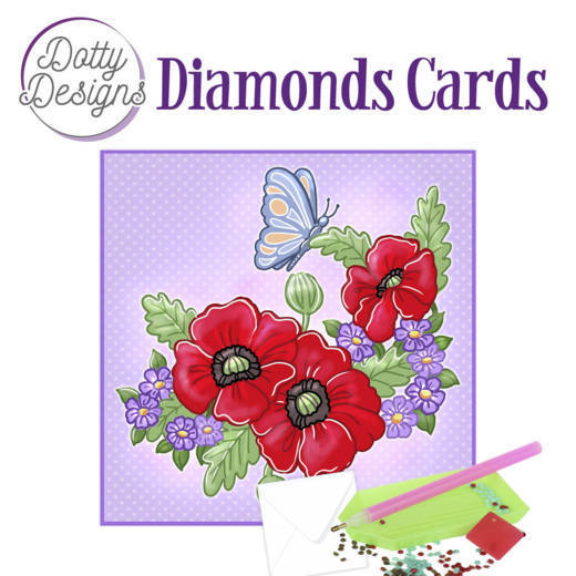Dotty Designs Diamonds Cards -  Red Flowers