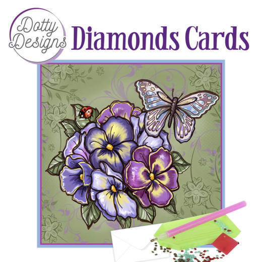 Dotty Designs Diamonds Cards - Purple Flowers
