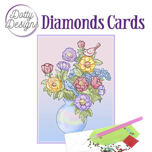 Dotty Designs Diamonds Cards - Vase with flowers